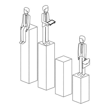 棒グラフのイラストデザインに立っている別の男。  イラスト・ベクター素材
