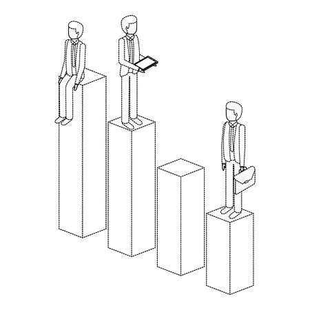 Different man standing on bar charts illustration design.