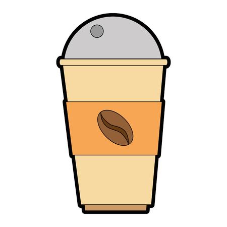 Coffee in plastic cup illustration design.