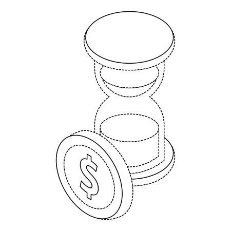 Bedrijfsuur glas tijd munt geld isometrische illustratie.