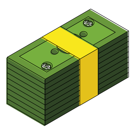 Staked of money finance isometric illustration. Иллюстрация