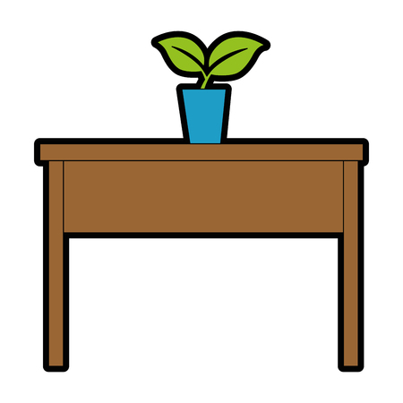 Table with plant icon illustration design.