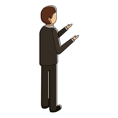 Man staan achteraanzicht karakter isometrische illustratie.