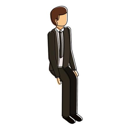 Isometrische Geschäftsmann sitzen Pose Charakter Vektor-Illustration Standard-Bild - 91413556