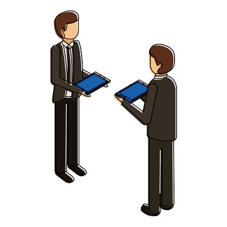 Men standing holding device technology illustration design.