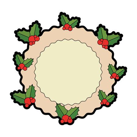 Christmas leafs decorative frame illustration design. Иллюстрация