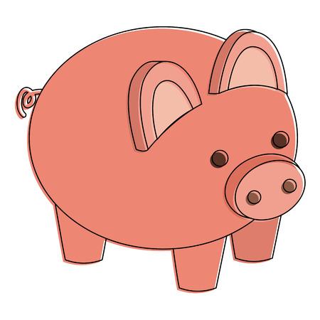 Piggy bank security saving money isometric illustration design. Illustration
