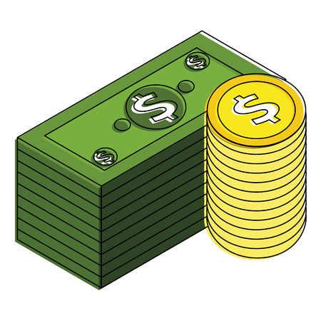 Staked banknote and coins currency bank illustration design.