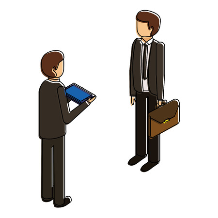 businessmen standing with briefcase and tablet isometric vector illustration