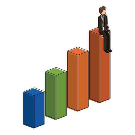 businessman sitting on a graph up successful character isometric vector illustration