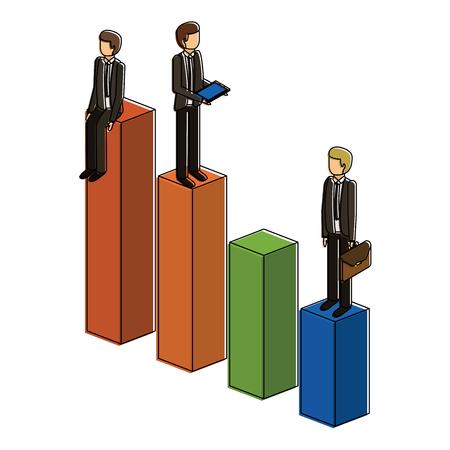 막대 그래프에 서있는 다른 사업가 자신의 재정 상태 벡터 일러스트 차트