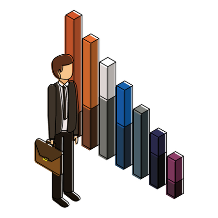 businessman standing holding briefcase with bar graph vector illustration