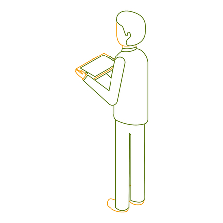 business man with tablet in the hand back view isometric vector illustration outline color