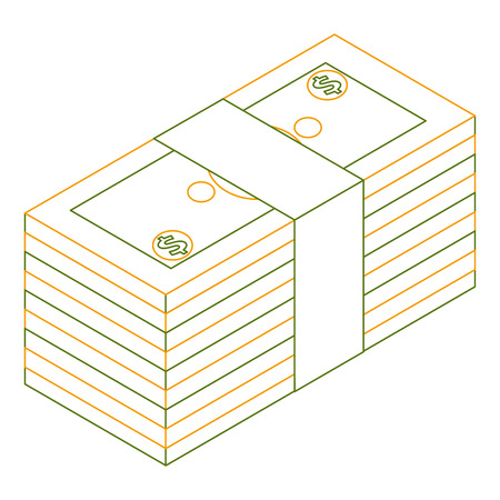 staked money isometric banknote dollar finance vector illustration outline color
