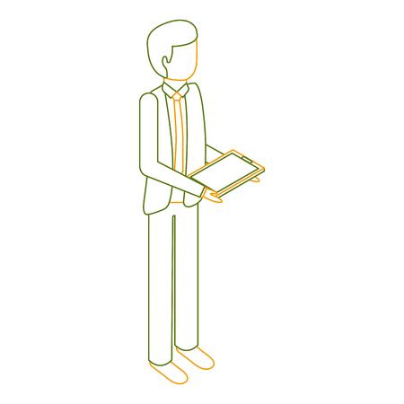 businessman stand holding tablet device vector illustration outline color