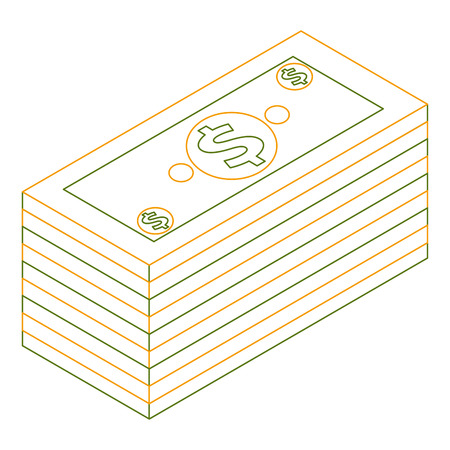 isometric pile of cash money dollars bundle vector illustration outline color Illusztráció