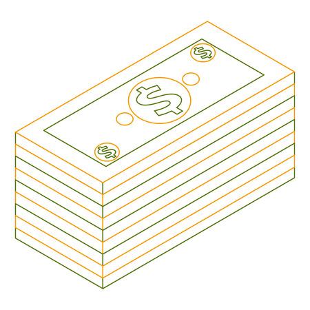 isometric pile of cash money dollars bundle vector illustration outline color Illustration
