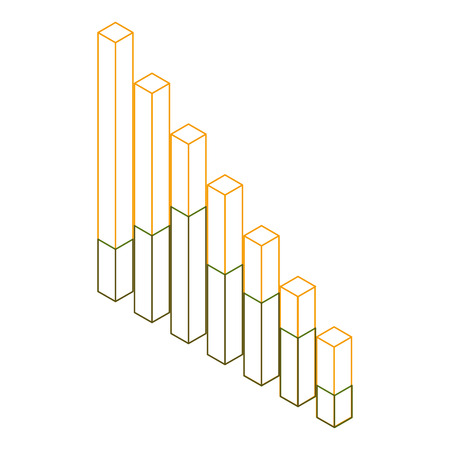 bars statistics isometric financial graph vector illustration outline color