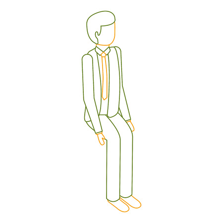 isometric businessman sit pose character vector illustration outline color Illustration