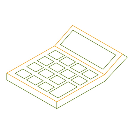 isometric calculator math financial economy object vector illustration outline color
