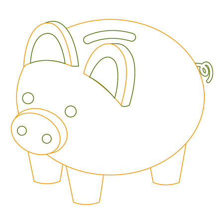 piggy bank security saving money isometric vector illustration outline color Ilustrace
