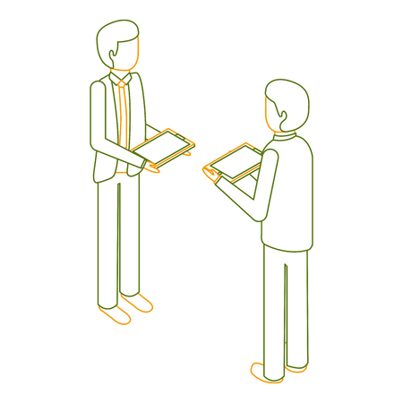 businessmen standing holding device technology isometric vector illustration outline color