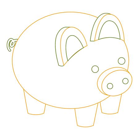 돼지 저금통 보안 돈을 아이소 메트릭 벡터 그림 개요 색을 저장