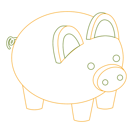 piggy bank security saving money isometric vector illustration outline color Ilustração