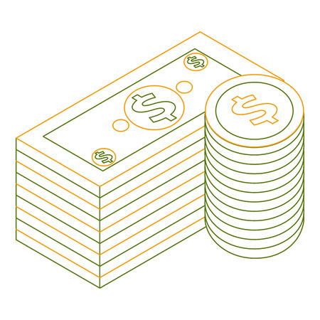 staked banknote and coins currency bank isometric vector illustration outline color Illustration
