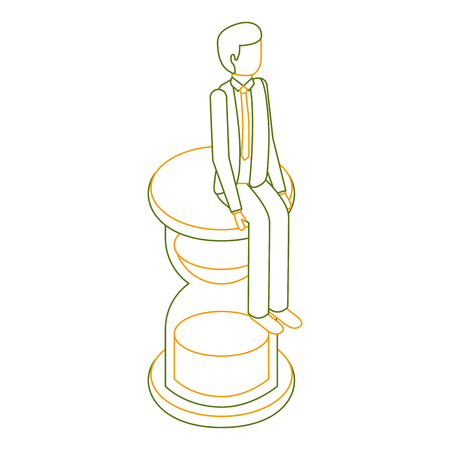 businessman sitting in clock hourglass isometric vector illustration outline color Illustration