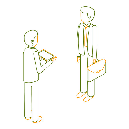 businessmen standing with briefcase and tablet isometric vector illustration outline color