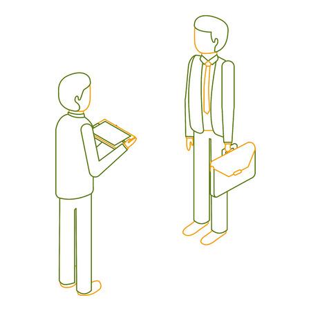 zakenlieden permanent met werkmap en tablet isometrische vector illustratie overzicht kleur