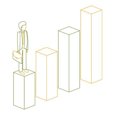 gefrustreerde zakenman met werkmap staande op een grafiek isometrische vector illustratie overzicht kleur