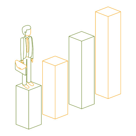 frustrated businessman with briefcase standing on a graph isometric vector illustration outline color