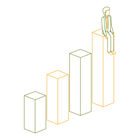 businessman sitting on a graph up successful character isometric vector illustration outline color