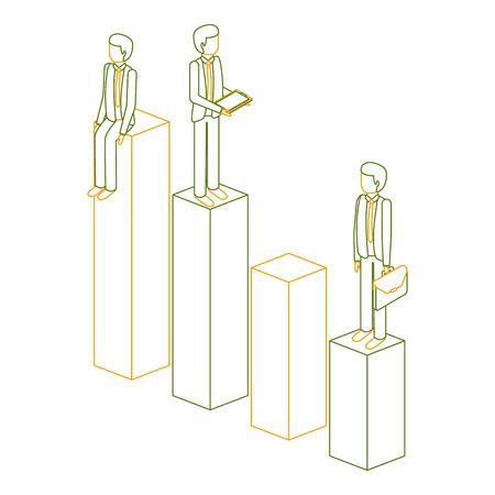 棒棒に立つ異なるビジネスマンは、彼らの財務状況ベクトルイラストアウトラインカラーをチャート化
