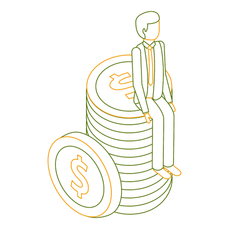 businessman sitting pile coins money isometric vector illustration outline color Illustration