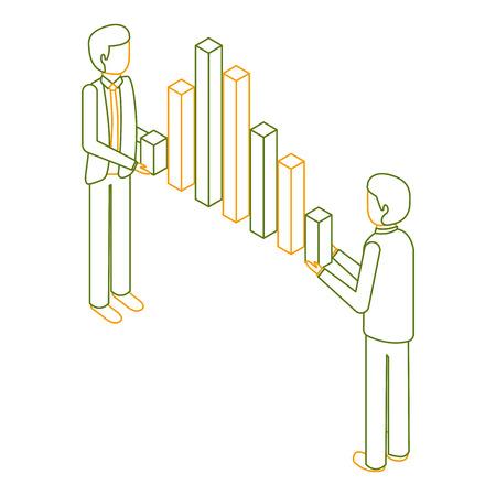 zakenlieden houden grafiek bars financiële zaken isometrische vector illustratie overzicht kleur Stock Illustratie