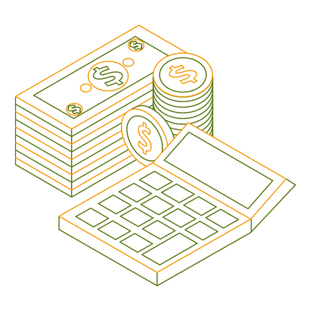 money staked banknote coins and calculator finance isometric vector illustration Illustration
