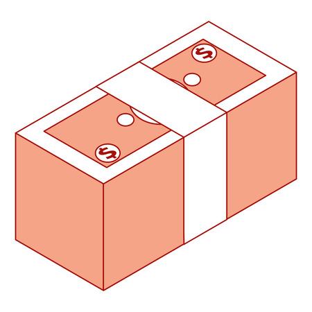 isometrische stapel contant geld dollars bundel vectorillustratie