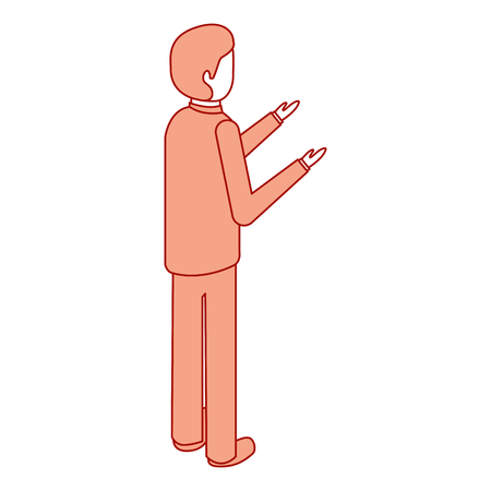 businessman stand back view character isometric vector illustration pink design