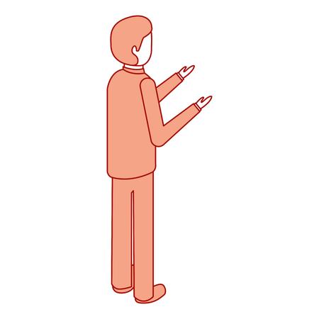 zakenman staan achteraanzicht karakter isometrische vector illustratie roze ontwerp Stock Illustratie