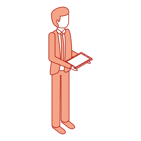businessman stand holding tablet device vector illustration pink design Illustration