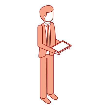 businessman stand holding tablet device vector illustration pink design Illustration