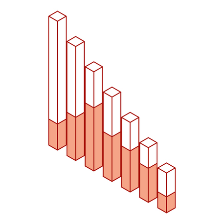 bars statistics isometric financial graph vector illustration pink design
