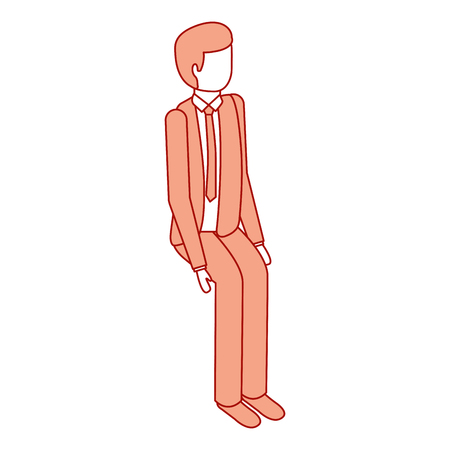 isometric businessman sit pose character vector illustration pink design Illustration
