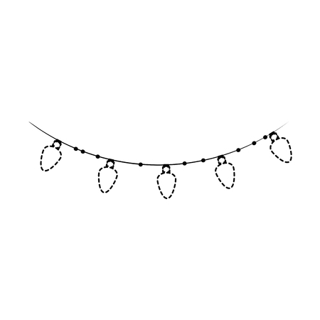 garlands with christmas lights icon vector illustration design