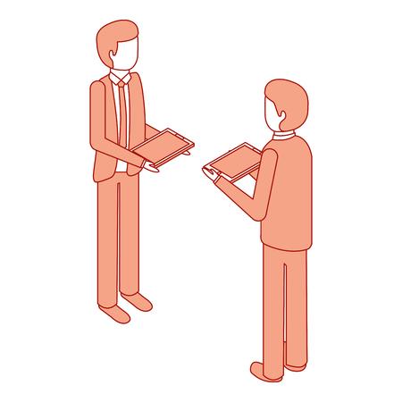 businessmen standing holding device technology isometric vector illustration pink design Illustration