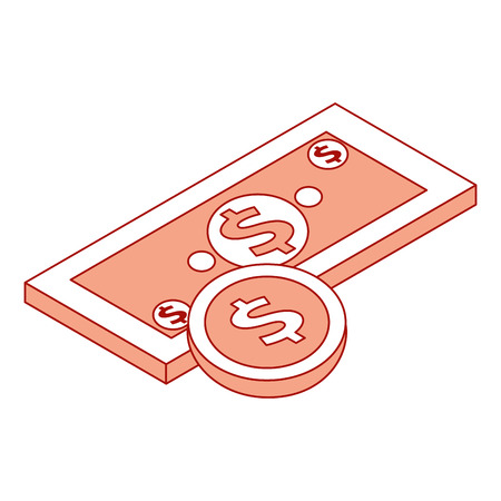 money banknote coin currency dollar isometric vector illustration pink design Illustration