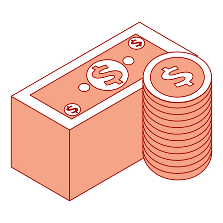staked banknote and coins currency bank isometric vector illustration pink design